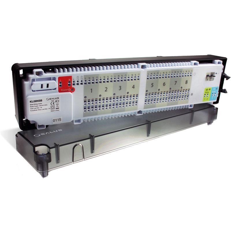 SALUS KL08NSB Centrálna svorkovnica KL08RF zaisťuje komfortné a spoľahlivéovládanie podlahového vykurovania. Je vybavená prídavnýmmodulom k ovládaniu kotla a čerpadla a je špeciálnenavrhnutá pre prevádzku s termoelektrickými pohonmi typuNCa NO.