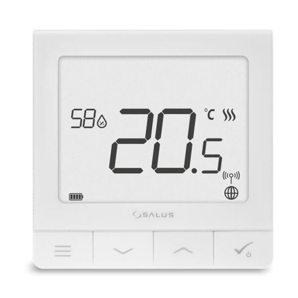 Multifunkčný termostat so zapustenou montážou so snímačom vlhkosti. Unikátnou vlastnosťou tohto termostatu je možnosť bezdrôtového ovládania zariadení z radu SALUS Smart Homea drôtového ovládania zariadení, ktoré sa k nemu pripájajú priamo (napr. centrálna svorkovnica, kotol).